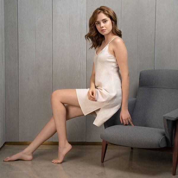 cream linen nightdress