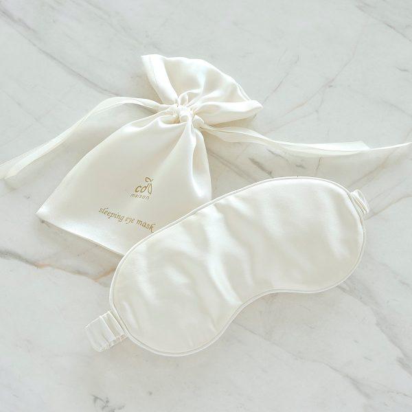 silk sleeping eye mask white