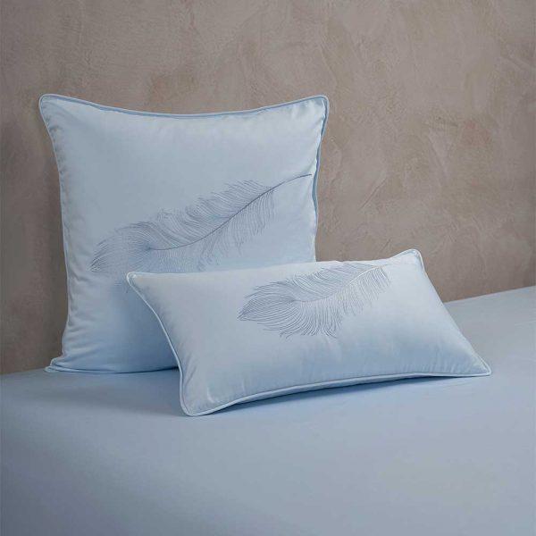 feather cushion cover aqua