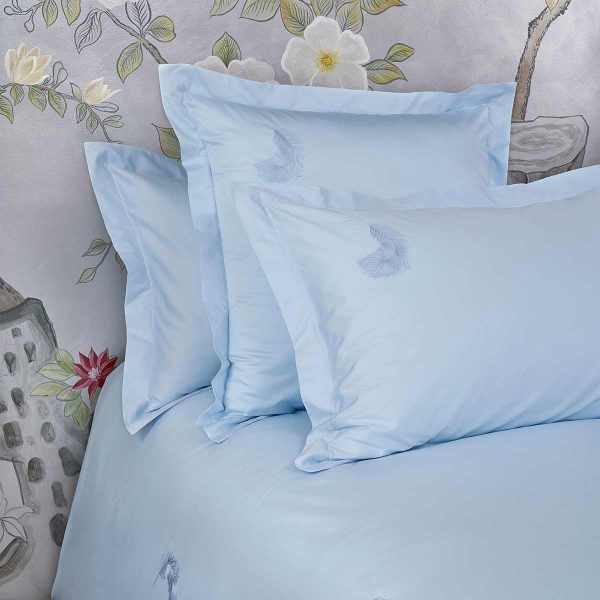 feather pillow sham aqua