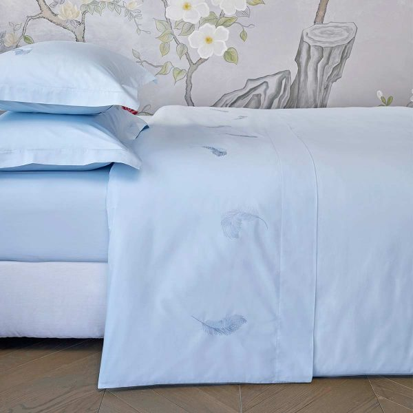 feather top sheet aqua