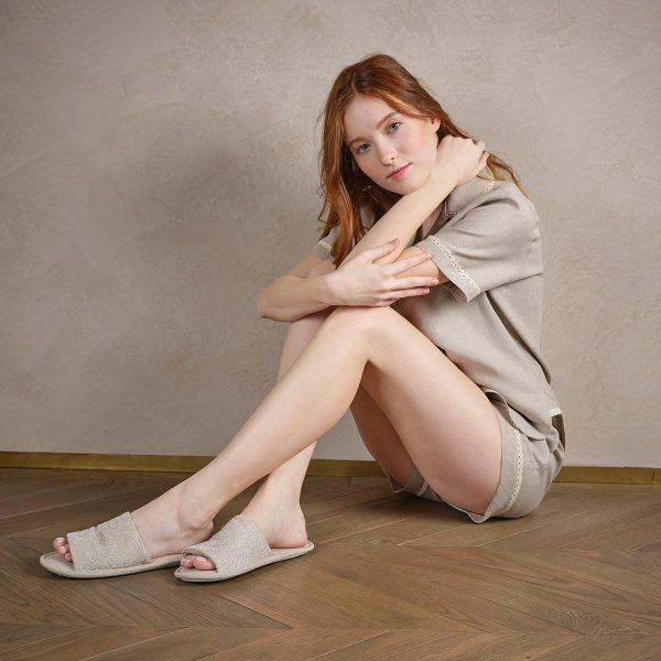 natural linen slippers