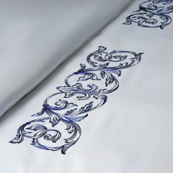 Aspen embroidery detail deep blue