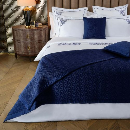 brooks bed throw deep blue