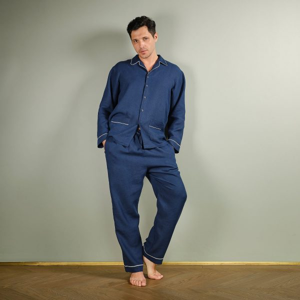 men linen pyjama set deep blue