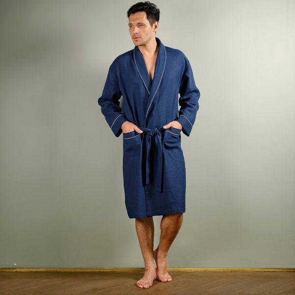 men linen robe deep blue