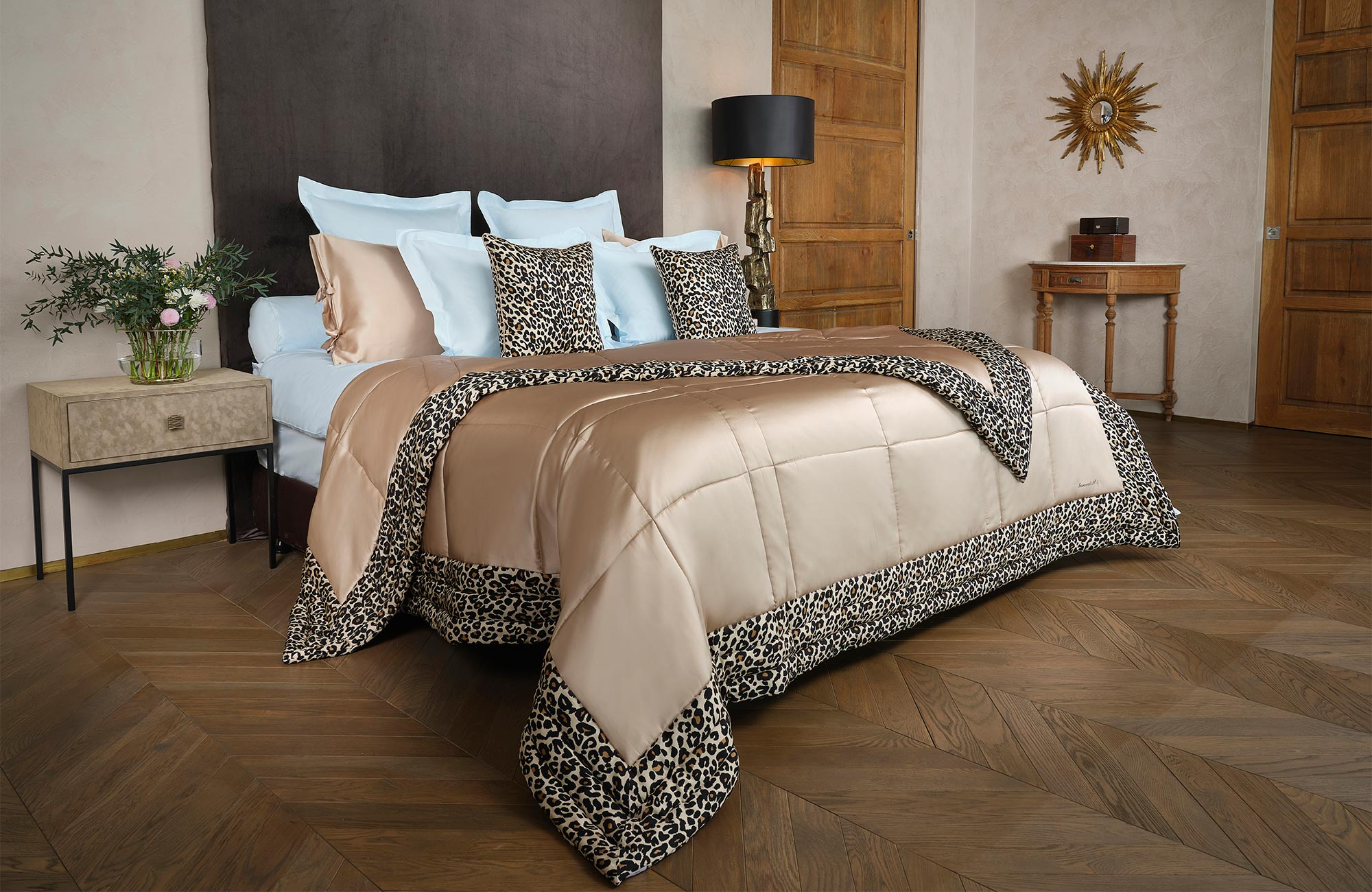Leopard print silk bed cover