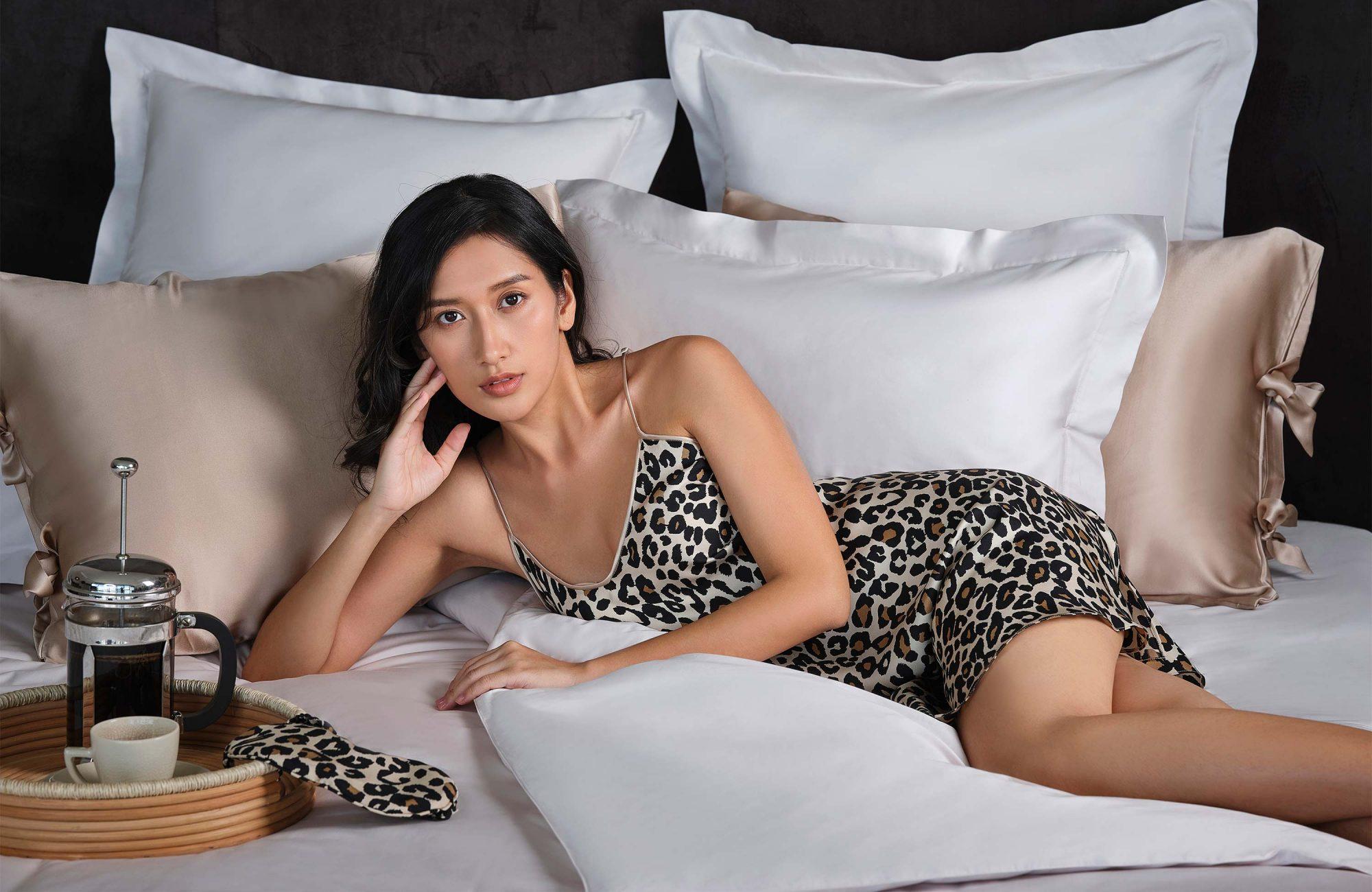 Leopard print silk nightdress