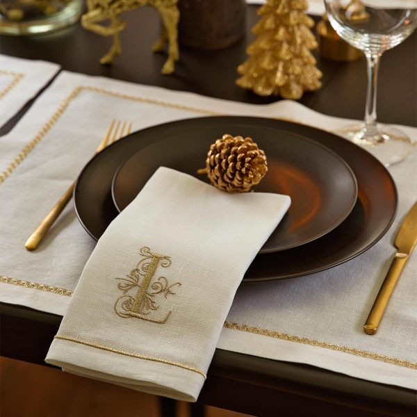 gold monogram embroidered napkin