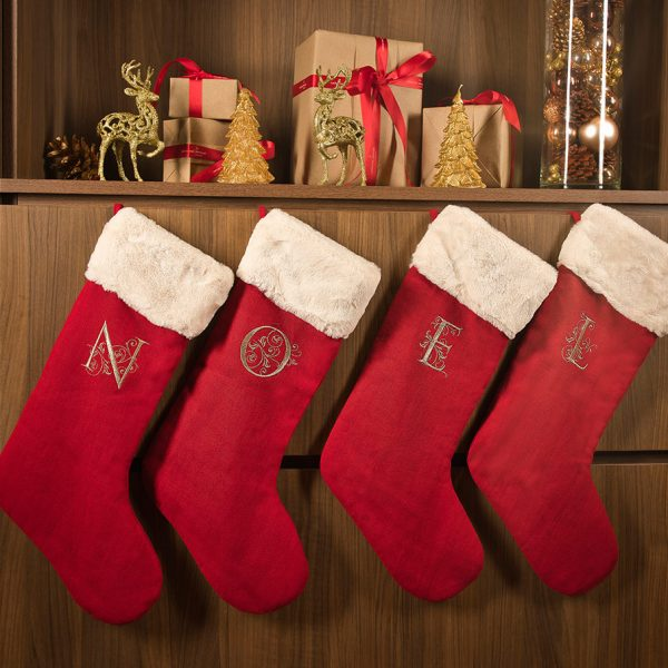 red linen christmas stocking