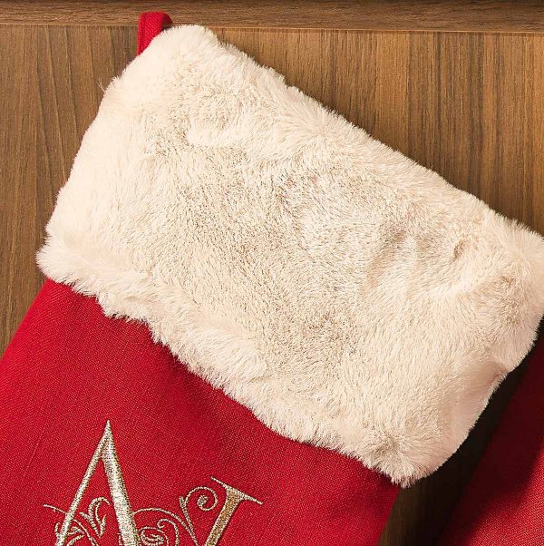 red linen christmas stocking 3
