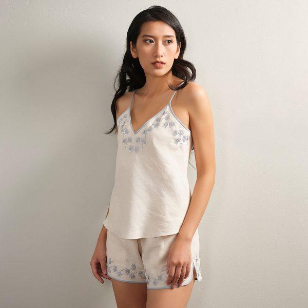embroidered cream linen camisole