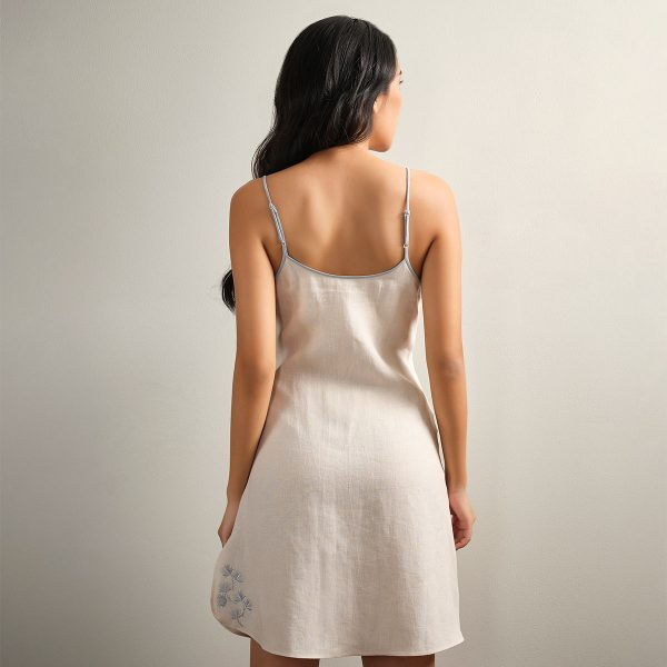 embroidered cream linen nightdress back