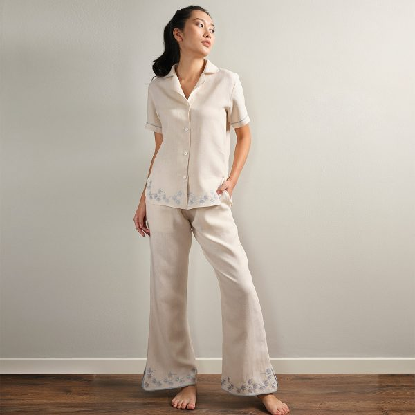 embroidered cream linen pyjama pants