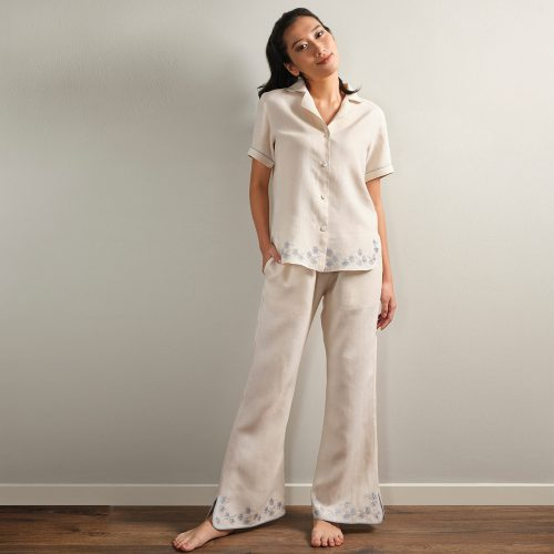 embroidered cream linen pyjama pants