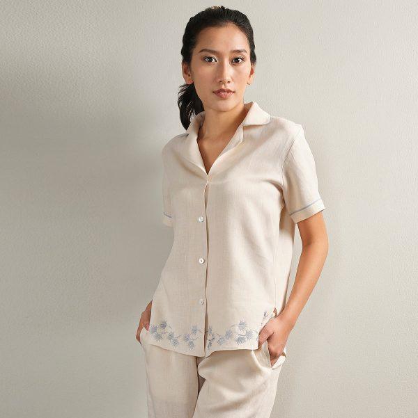 embroidered cream linen pyjama top