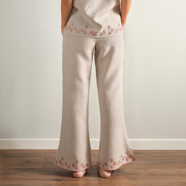 embroidered natural linen pyjama pants