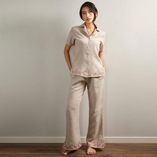 embroidered natural linen pyjama top
