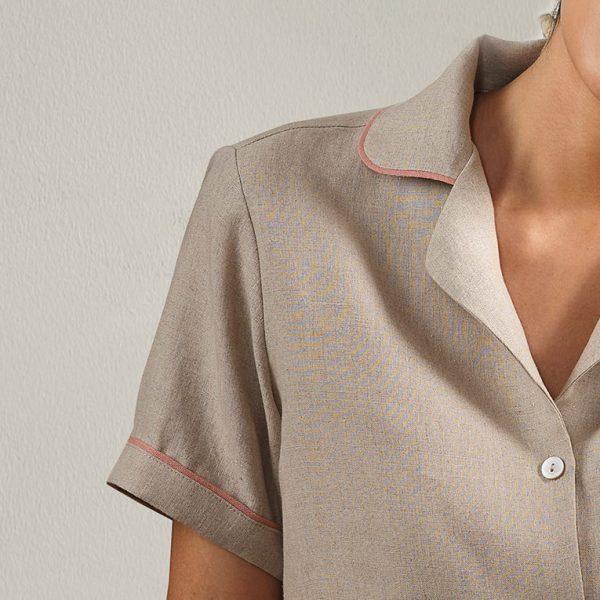 embroidered natural linen pyjama top detail