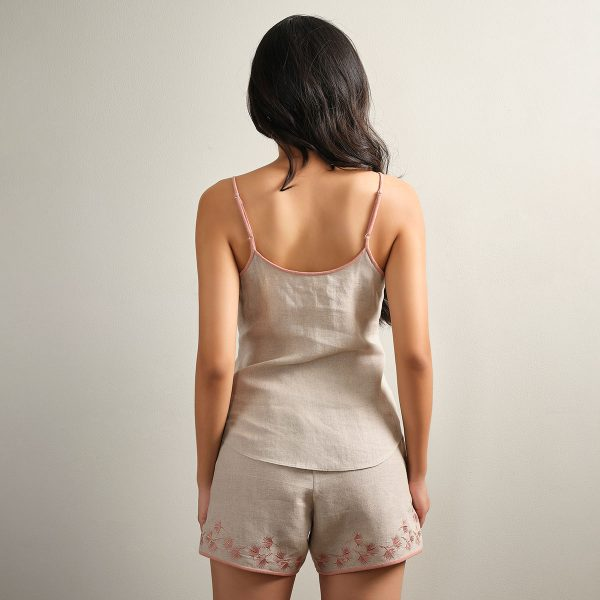 embroidered natural linen camisole