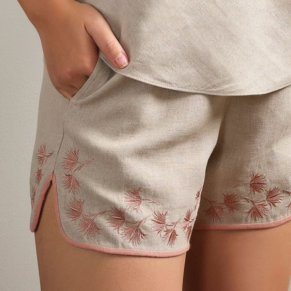 embroidered natural linen shorts detail
