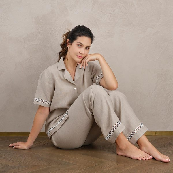 natural linen pyjama pants