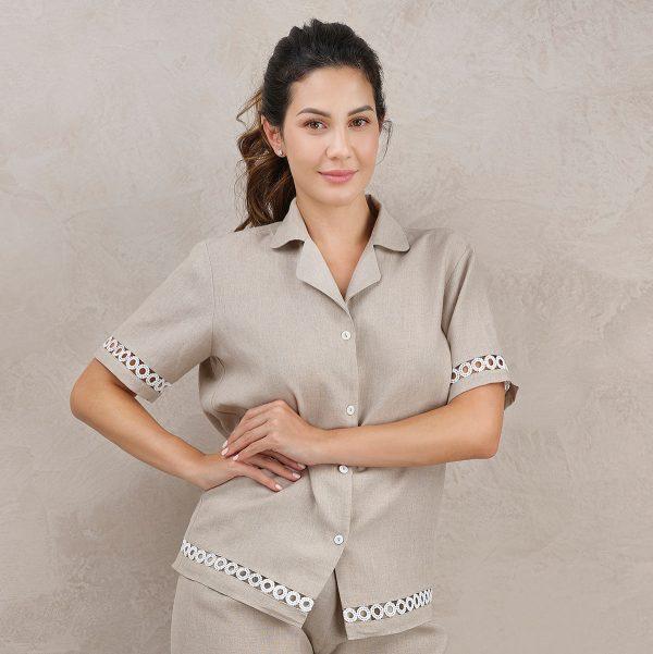 natural linen pyjama top