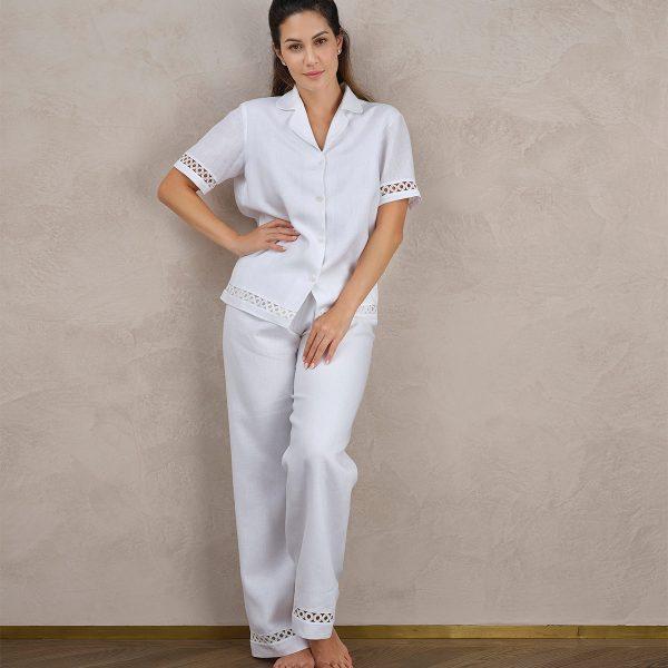 white pyjama pants