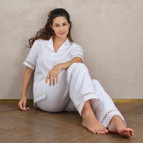 white linen pyjama top