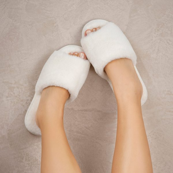 furry white slippers