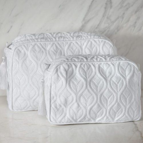 white toiletry bag