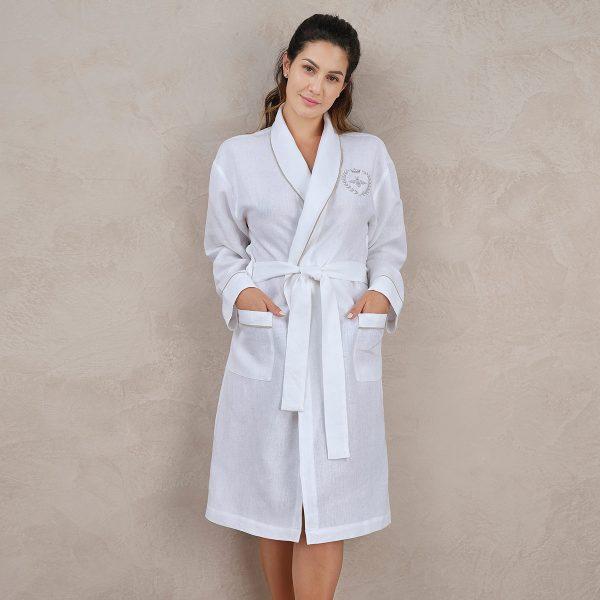 women linen robe